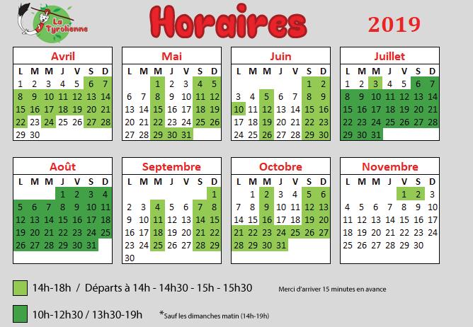Calendrier et horaires d'ouverture